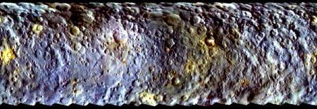 Mapa de Ceres a partir de la información enviada por la sonda Dawn (marzo de 2015).