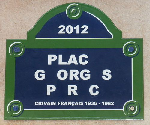 Placa Disparition homenaje a Georges Perec. Obra de Christophe Verdon, 2012.