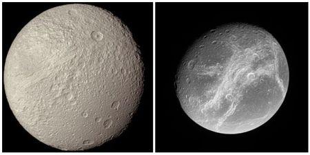 Fotografía de Tetis tomada por la sonda Voyager (1981).Fotografía de Dione tomada por la sonda Cassini (2006).