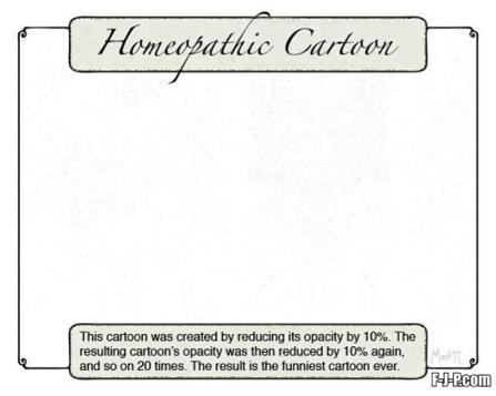 2. irudia: Webean hamaika txantxa daude homeopatiaren aurkakoak.