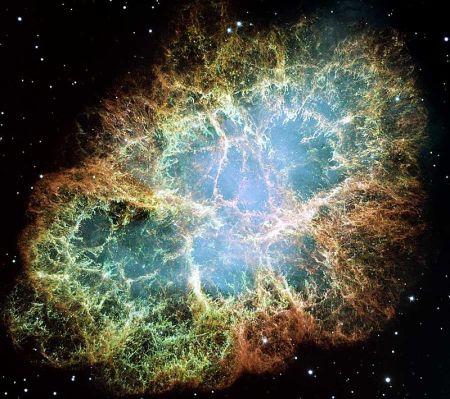 Nebulosa del Cangrejo, remanente de SN 1054 (Telescopio Espacial Hubble).