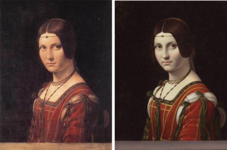 "Imagen 1. ""La Belle Ferronniére"" atribuida a Leonardo da Vinci (1495-99, 63×45 cm) y la del matrimonio Hahn (antes de 1750, 55×44 cm). Fuente: Brewer, John (2005) Art and Science: A Da Vinci Detective Story."