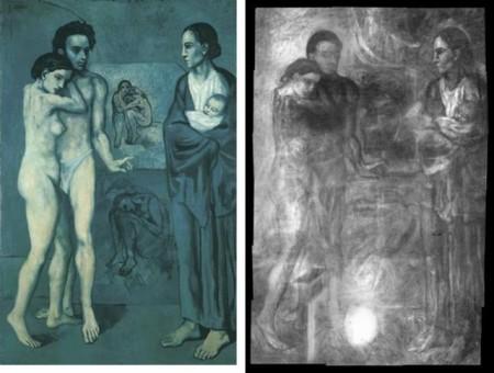 """""""La vie"""" de Pablo Picasso (1903, 196×129 cm) y una radiografía de la misma obra. Fuente: The Cleveland Museum of Art."""