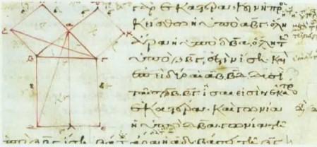 Imagen del Teorema de Pitágoras en Los Elementos, de Euclides.