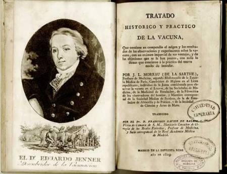 Edward Jenner. Grabado incluido en la traducción de Balmis del tratado de Moreau de la Sarthe (Tratado histórico y practico de la vacuna, Madrid, 1803).