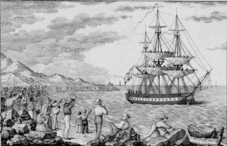 Corbeta María Pita zarpando de uno de los puertos del Caribe (1803-1804). / Grabado de Francisco Pérez (BNE).
