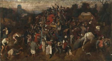 Imagen 2. El vino de la fiesta de San Martín de Pieter Brueghel el Viejo (Hacia 1565-1568, 148 x 270,5 cm).Imagen 2. El vino de la fiesta de San Martín de Pieter Brueghel el Viejo (Hacia 1565-1568, 148 x 270,5 cm). Fuente: Museo del Prado.