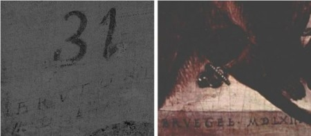 Imagen 3. La firma encontrada en El vino en la fiesta de San Martín (izquierda) junto a la encontrada en Dos monos (1562) atribuida de Pieter Brueghel el Viejo. Fuentes: (Izqda.) Museo del Prado; (Dcha.) Wikimedia Commons.
