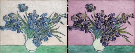 Lirios (74x92cm) de Vicent van Gogh (1890) – Met Museum. A la izquierda en su estado actual y a la derecha una reconstrucción digital – Monica Rotgans.