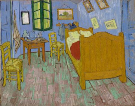 """""""El dormitorio en Arles"""" (74x92cm) de Vicent van Gogh (1889) en su estado actual – van Gogh Museum."""