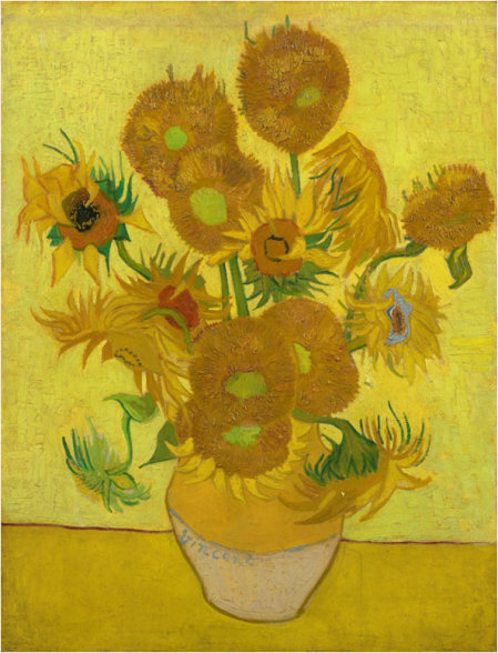"""Imagen 3. """"Girasoles"""" (95x73cm) de Vincent van Gogh (1889). Los girasoles no tenían tonos marrones originalmente – van Gogh Museum."""