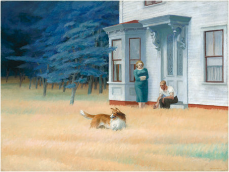 "Imagen 4. ""Cape Cod Evening"" (76x102cm) de Edward Hopper (1939). Los árboles del fondo eran más verdes originalmente – National Gallery of Art."
