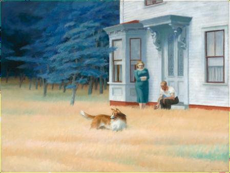 """Imagen 4. """"Cape Cod Evening"""" (76x102cm) de Edward Hopper (1939). Los árboles del fondo eran más verdes originalmente – National Gallery of Art."""