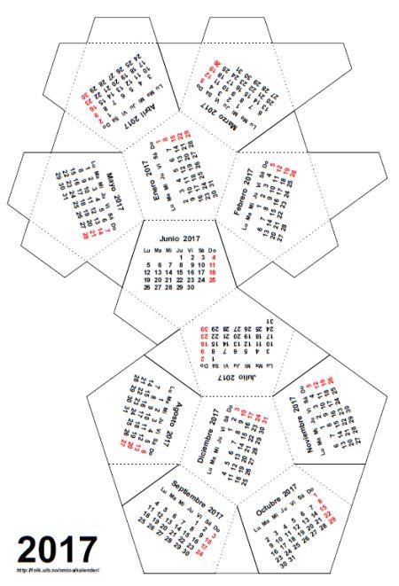 Calendario para montar (dodecaedro regular), © Ole Arntzen