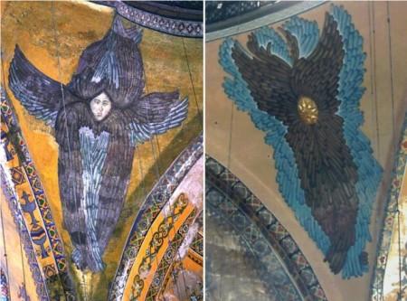 Imagen 2. El serafín de Hagia Sophia con la cara descubierta y otro que todavía la tiene cubierta por una placa dorada. Fuente: Wikimedia Commons.