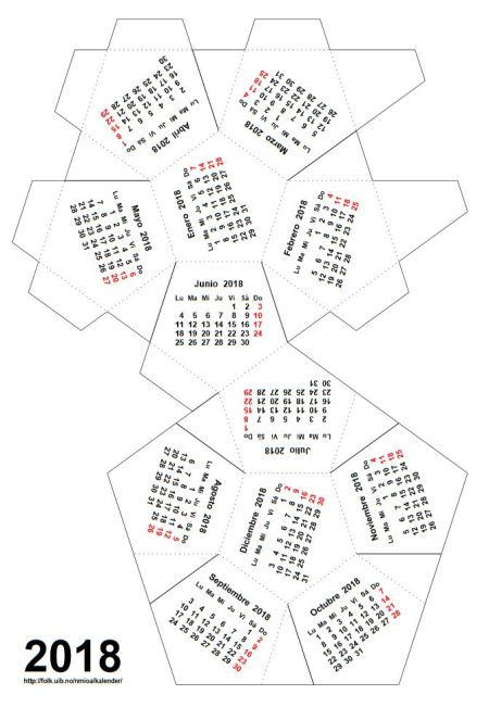 Un calendario dodeca drico para 2018 - Plantilla calendario de mesa ...